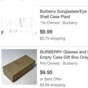 Empty Burberry sunglasses box-booklet & card
